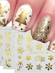 cheap -16pcs Gold Silver Christmas Snowflake Nail Polish Stickers Winter Nail Art Decals Water Transfer Manicure Accesoires