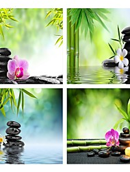 cheap -4 Panels Wall Art Canvas Prints Painting Artwork Picture Bamboo Stone Candle Painting Home Decoration Decor Rolled Canvas No Frame Unframed Unstretched