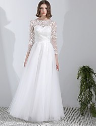 cheap -A-Line Wedding Dresses Jewel Neck Ankle Length Lace Tulle Long Sleeve Romantic with Pleats Appliques 2021