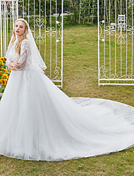 cheap -Princess Ball Gown Wedding Dresses V Neck Cathedral Train Lace Tulle 3/4 Length Sleeve Formal Luxurious Sparkle & Shine Plus Size with Beading Sequin Appliques 2021