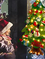 cheap -Christmas Decoration DIY Felt Christmas Tree LED String Light for Home Navidad  New Year Xmas Ornaments Santa Claus Star Snoweflake Kids DIY Gifts Lighting AA Battery Power Warm White