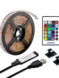cheap -5m RGB Strip Lights 150 LEDs 5050 SMD 10mm 1 24Keys Remote Controller 1 set Multi Color Waterproof Cuttable USB USB Powered