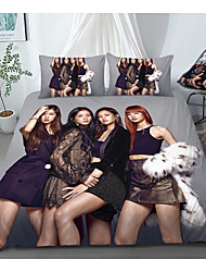 cheap -Print Home Bedding Duvet Cover Sets Soft Microfiber For Kids Teens Adults Bedroom Black Pink 1 Duvet Cover + 1/2 Pillowcase Shams