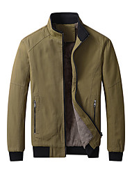 cheap -Men's Jacket Street Daily Going out Winter Regular Coat Zipper Stand Collar Regular Fit Warm Breathable Sporty Casual Jacket Long Sleeve Solid Color Full Zip Pocket Wine Army Green Khaki / Outdoor