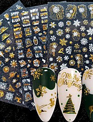 cheap -8 Pcs Holographic Laser Gold White Christmas Nail Sticker 5D Snowflakes Leaf Geometry Lines Letter For Manicure Sliders