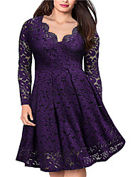 cheap -Women's Plus Size Dress A Line Dress Knee Length Dress Long Sleeve Solid Color Lace V Neck Casual Fall Wine Purple Green XL XXL 3XL / Regular Fit / Going out
