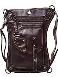 cheap -drop leg bag for men waterproof leather cross body shoulder pack tactical motorcycle riding climbing black