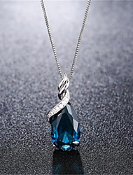 cheap -Pendant Necklace Necklace Women's Classic Cubic Zirconia Silver Plated Simple Fashion Classic Casual / Sporty Sweet Cute Blue 45 cm Necklace Jewelry 1pc for Street Gift Daily Prom Festival Geometric