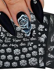 cheap -6 pcs 5D White Nail Sticker Rose Feather Engraved Embosse Design Transfer Decals Slider Wraps DIY Nail Art Decoration