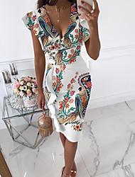 cheap -Women's Sheath Dress Knee Length Dress White Short Sleeve Floral Ruffle Print Fall V Neck Casual Regular Fit 2021 S M L XL XXL
