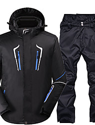 cheap -Men's Ski Jacket with Pants Thermal Warm Waterproof Windproof Breathable Hooded Winter Clothing Suit for Snowboarding Ski Mountain / Cotton