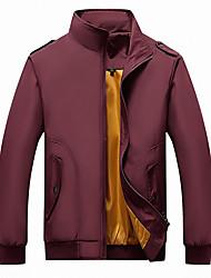 cheap -Men's Jacket Street Daily Going out Fall Regular Coat Zipper Stand Collar Regular Fit Breathable Sporty Casual Jacket Long Sleeve Plain Full Zip Pocket Blue Green Black / Outdoor