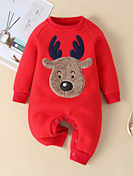cheap -Baby Unisex Boys' Girls' Christmas Romper Active Cute Home Christmas Cotton Blue Red Deer Animal Patchwork Long Sleeve / Fall / Winter