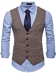 cheap -Men's Vest Business Daily Fall Winter Regular Coat Single Breasted One-button V Neck Regular Fit Thermal Warm Windproof Warm Business Streetwear Jacket Sleeveless Plain Patchwork Gray Khaki Black