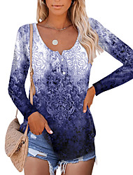 cheap -Women's Abstract Painting T shirt Graphic Long Sleeve Button Print Round Neck Basic Tops Regular Fit Blue Purple Green / 3D Print