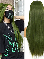 cheap -Green Long Straight Synthetic Lace Wigs for Women Medium T Lace Wig Heat Resistant Fiber Natural Looking Hair 2021
