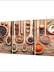 cheap -3 Panels Wall Art Canvas Prints Painting Artwork Picture Spoon Spices Food Home Decoration Decor Rolled Canvas No Frame Unframed Unstretched