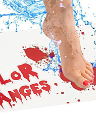 cheap -Halloween Change Color Plate Meets Water to Become Red Foot Mat Bloody Bath Scary Footprint Palm