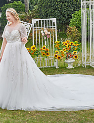 cheap -Princess Ball Gown Wedding Dresses Jewel Neck Cathedral Train Lace Tulle Half Sleeve Formal Luxurious Sparkle & Shine Plus Size with Pleats Sequin Appliques 2021