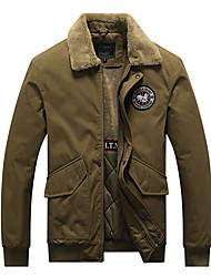 cheap -Men's Jacket Street Daily Fall Winter Regular Coat Zipper Turndown Regular Fit Thermal Warm Breathable Casual Jacket Long Sleeve Solid Color Pocket Army Green Khaki Black