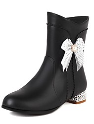 cheap -Girls' Boots Casual Boots Heel Halloween PU Cute Casual / Daily Fashion Boots Big Kids(7years +) Daily Rhinestone Bowknot Pink White Black Fall Winter / Mid-Calf Boots / Rubber