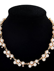 cheap -Choker Necklace Collar Necklace Women's Geometrical Imitation Pearl Zircon Precious Fashion Lovely Wedding White 45 cm Necklace Jewelry 1pc for Christmas Wedding Gift Engagement Festival Geometric