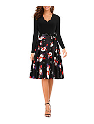 cheap -Women's A Line Dress Knee Length Dress Black Long Sleeve Print Print Winter V Neck Active Christmas 3D Print S M L XL XXL XXXL