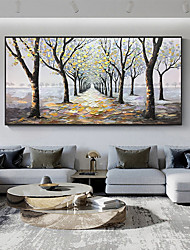 cheap -Original Forest Painting on Canvas Handmade Hand Painted Wall Art Stretched Frame Ready to Hang Large Abstract Quiet Paths Landscape Acrylic Painting Living Room Wall Art Decor