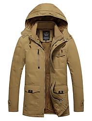 cheap -Men's Jacket Street Sport Daily Fall Winter Regular Coat Zipper Hoodie Regular Fit Warm Breathable Casual Sports Jacket Long Sleeve Plain Full Zip Pocket Army Green Khaki Black / Outdoor