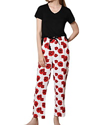 cheap -Women's Pajamas Sets Home Daily Elastic Waist Print Flower Polyster Simple Soft Sweet T shirt Pant Fall Spring V Wire Short Sleeve Long Pant Seamed