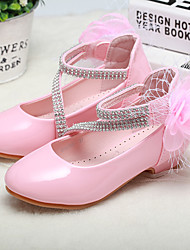 cheap -Girls' Heels Heel PU Wedding Dress Shoes Little Kids(4-7ys) Big Kids(7years +) Wedding Party Party & Evening Flower Pink White Fall Winter