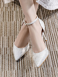 cheap -Women's Wedding Shoes Stiletto Heel Pointed Toe Wedding Daily Lace Rhinestone Solid Colored Almond Pink White