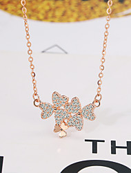 cheap -Pendant Necklace Women's Geometrical Clear S925 Sterling Silver Clover Dainty Luminous Wedding Rose Gold White 21-50 cm Necklace Jewelry 1pc for Wedding Geometric