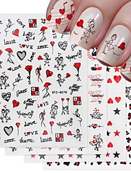 cheap -4 Pcs Romantic Valentines Day Nails Love Rose Leopard Flower Laser 3D Nail Sticker Decals Nail Design for Adhesive Wraps