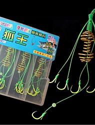 cheap -24 pcs Worm Hooks Carbon Steel Fishing Hooks Luminous Rustproof Freshwater and Saltwater Sea Fishing Freshwater Fishing Needle Size 6#, 7#, 8#, 10#, 12#