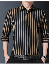 cheap -Men's Shirt Striped Long Sleeve Casual Tops Chinese Style Casual Black Light Blue