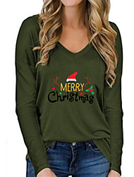 cheap -Women's Christmas Abstract Painting T shirt Text Reindeer Long Sleeve Print V Neck Basic Christmas Tops Regular Fit Army Green Gray White