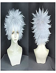 cheap -hunter hunter killua zoldyck cosplay wig japanese anime silver wig cosplay