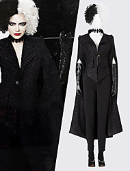 cheap -One Hundred and One Dalmatians Cruella De Vil Dress Masquerade Women's Movie Cosplay Vacation Halloween Black Coat Pants Gloves Halloween Carnival Masquerade Polyester / Shoes / Necklace / Wig