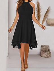 cheap -Women's A Line Dress Knee Length Dress Navy Wine Red Blue Purple Green Black Sleeveless Solid Color Cold Shoulder Spring Summer Halter Neck Elegant Casual 2021 S M L XL XXL XXXL