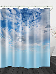 cheap -Blue sky and White Clouds Printed Waterproof Fabric Shower Curtain Bathroom Home Decoration Covered Bathtub Curtain Lining Including hooks.