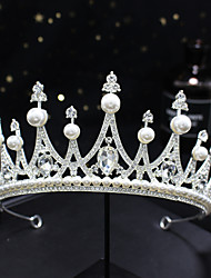 cheap -Crown Headdress Atmosphere European And American Crown Alloy Pearl Crown Super Fairy Exquisite Crown Bridal Wedding Jewelry