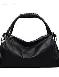 cheap -Women's Bags PU Leather Top Handle Bag Zipper Solid Color Date Office & Career Handbags Gray Black Brown