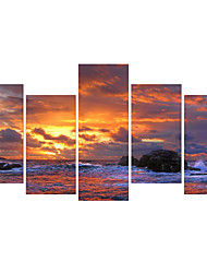 cheap -5 Panels Wall Art Canvas Prints Painting Artwork Picture Ocean Wave Blue Sea Sky Painting Home Decoration Decor Rolled Canvas No Frame Unframed Unstretched