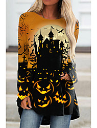 cheap -Women's Halloween Abstract Painting T shirt Graphic Pumpkin Long Sleeve Print Round Neck Basic Halloween Tops Blue Purple Yellow / 3D Print