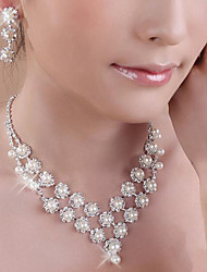 cheap -Women's Bridal Jewelry Sets Geometrical Precious Fashion Imitation Pearl Silver Plated Earrings Jewelry White For Christmas Party Wedding Gift Festival 1 set