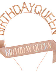 cheap -1 Piece Fashion Birthday Queen Headband Crown Strap Set Birthday Queen Letter Headband Belt