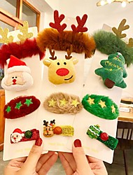 cheap -3 Pieces Christmas Hair Accessories Rubber Band Brooch Clip Set Christmas Celebration Gift Hair Clip