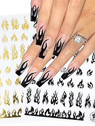 cheap -4 pcs 3D Holographic Fire Flame Nail Stickers Slider Gold Black Summer Manicure Decals DIY Nail Art Decorations Decor Tool