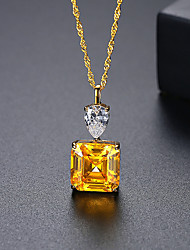 cheap -Pendant Necklace Women's Geometrical Clear Yellow S925 Sterling Silver Simple Luminous Wedding Silver Gold 50 cm Necklace Jewelry 1pc for Wedding Geometric